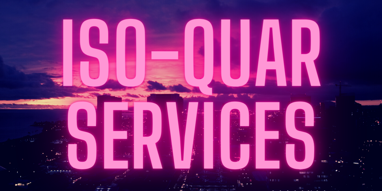 Honolulu city at night with text ISO-QUAR SERVICES in hot pink