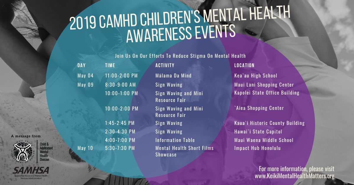2019 CAMHD Children's Mental Health Awareness Events Calendar