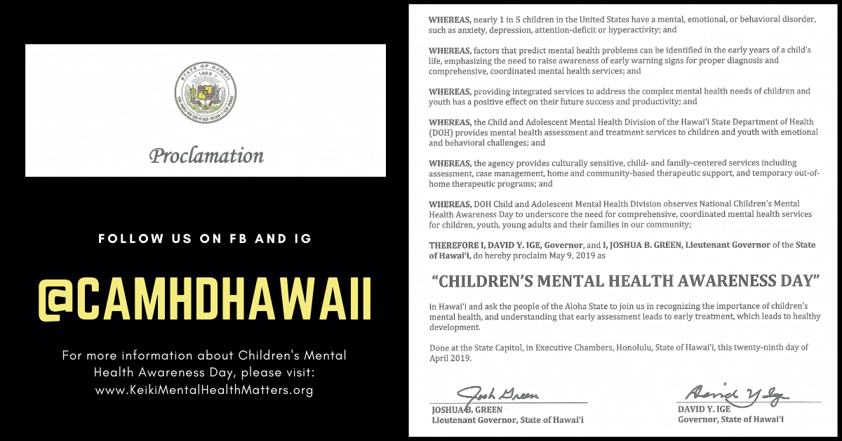 Governor's Proclamation for Children's Mental Health Awareness Day 2019