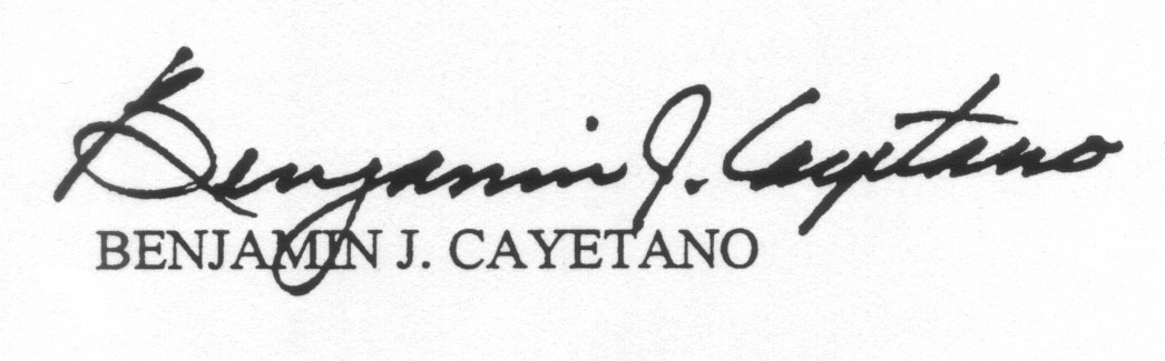 Benjamin Cayetano's Signature as Governor of the State of Hawaii