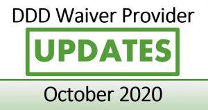 DDD Waiver Provider Updates: October 2020