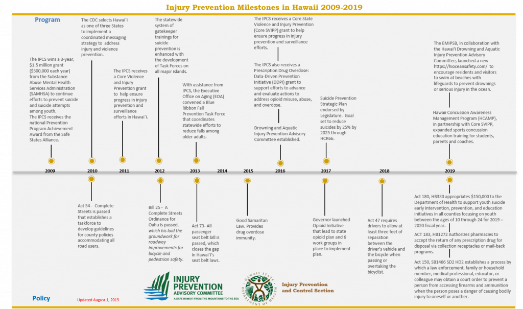 Hawaii Injury Prevention Milestones 2009-2019