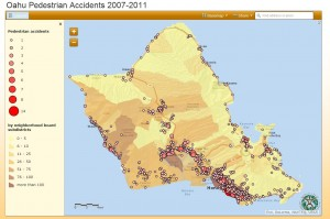 Map of pedestrian accidents