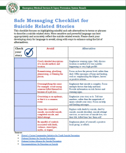 Safe Messaging Checklist for Suicide Related Stories - Cover