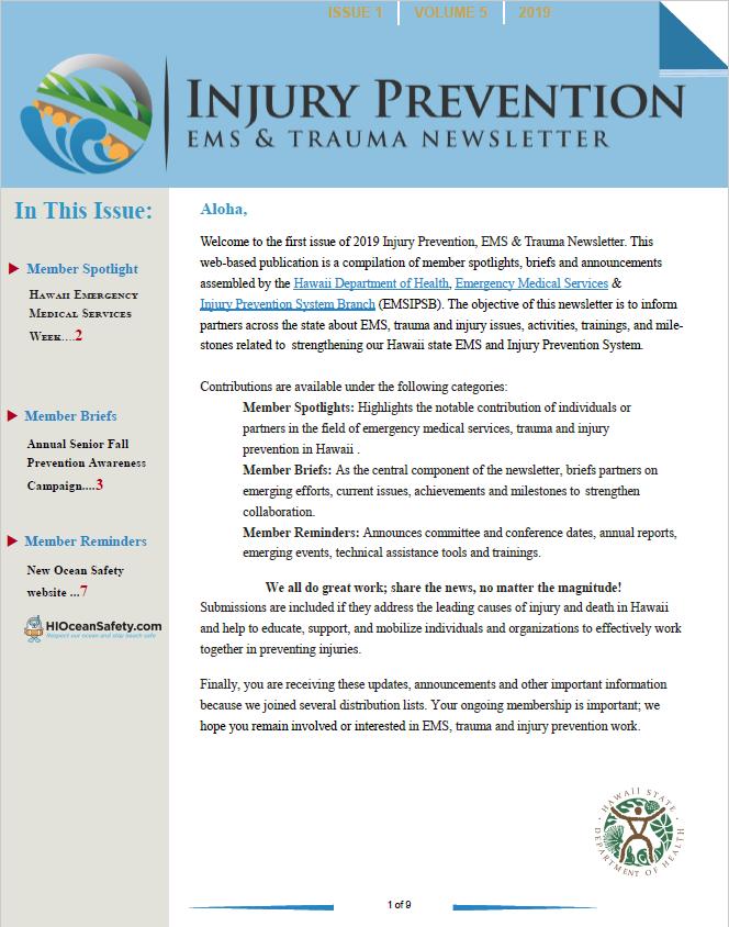 EMS & Injury Prevention System Branch | Injury Prevention