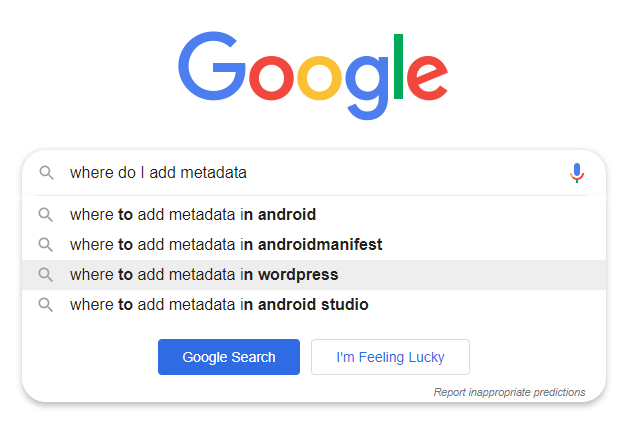 "screenshot of Google search suggestions highlighting ""where to add metadata in wordpress"""