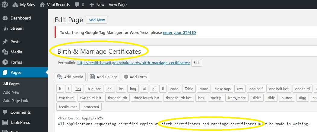 screenshot of a WordPress page with birth and marriage certificates in the title and body text