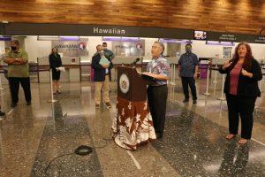 Attorney General Clare Connors, Lt. Gov Josh Green, Hawaiian Airlines President/CEO Peter Ingram, Speaker of the House Scott Sakai, and Senate President Ron Kochi at news briefing at Daniel K. Inouye International Airport, June 1, 2020