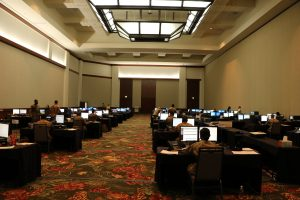 rows of computers operated by the National Guard