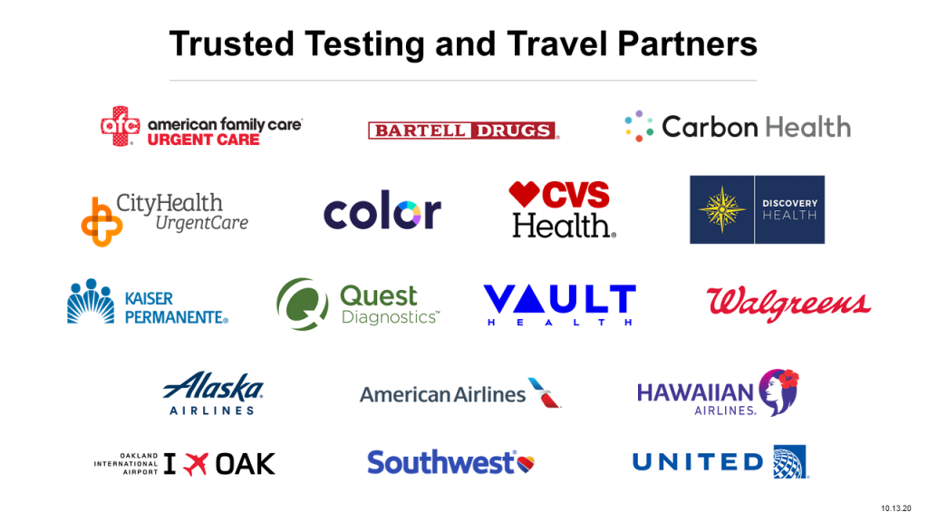 Logos of trusted testing and travel partners