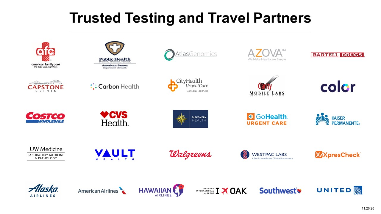 Trusted Testing and Travel Partners - November 20 2020