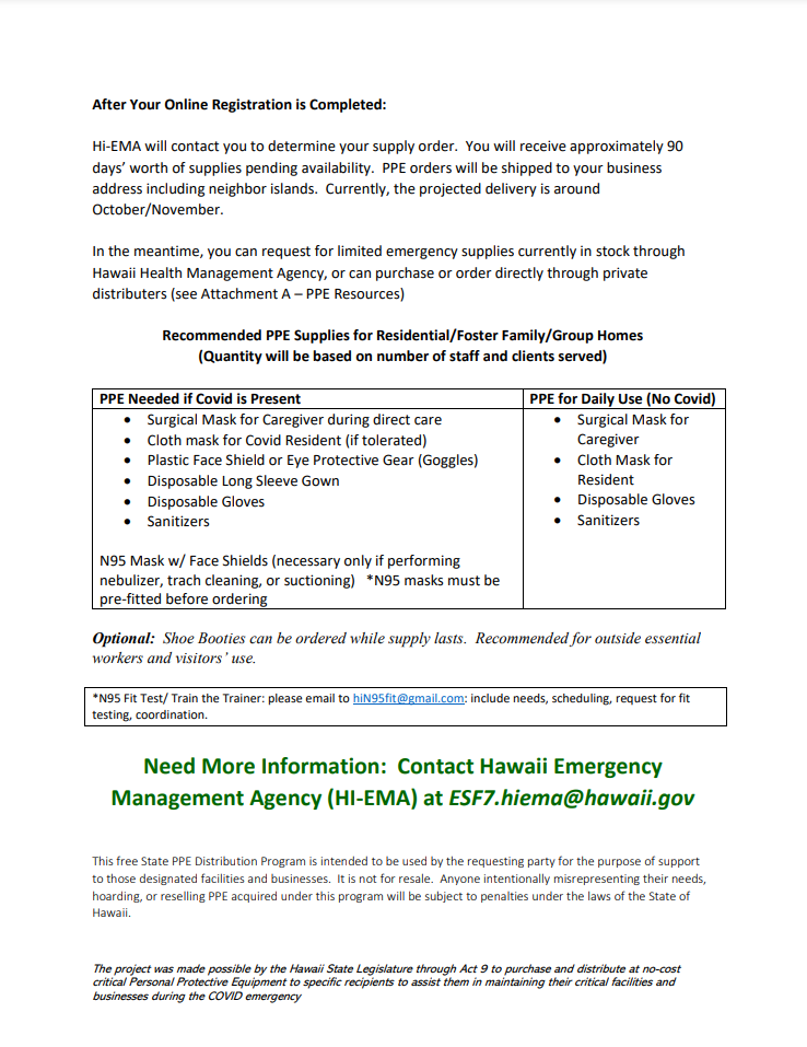 State of Hawaii COVID-19 PPE Distribution Program 11-13-20 page 2