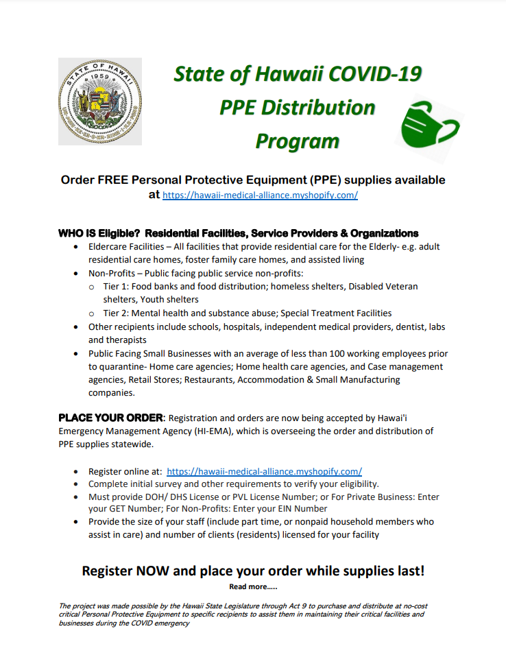 State of Hawaii COVID-19 PPE Distribution Program 11-13-20