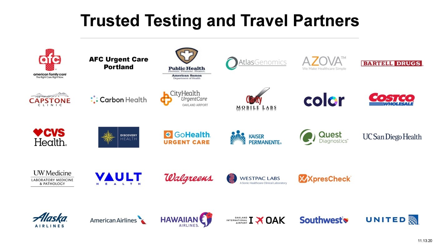 Trusted Testing and Travel Partners - November 16 2020