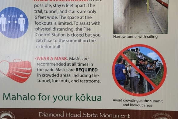 diamond head sign about masks required