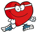 Illustration of cartoon heart running