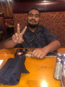 Photo: Dexster at a restaurant