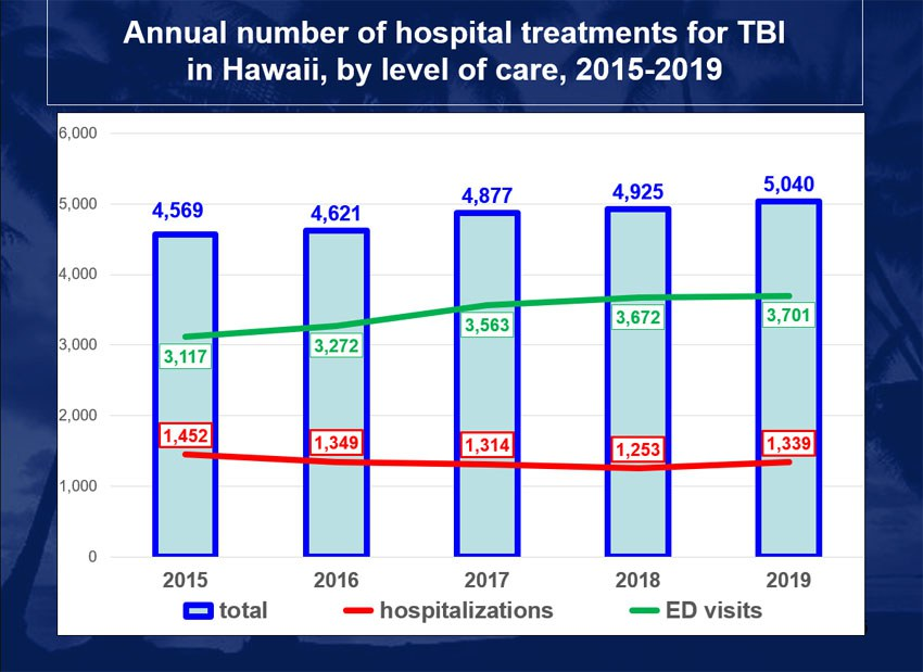 Figure: Number of hospital treatments in Hawaii by level of care