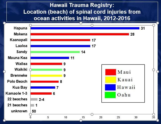 Hawaii Trauma Registry: Location of Spinal Cord Injury