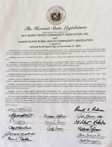 Hawaii Island 2013 Rural Health Day Proclamation