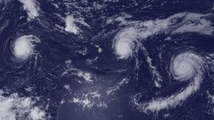 satellite image from August 2015 showing three powerful category-4 hurricanes in the Central Pacific all at the same time