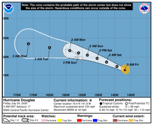 map of Hurricane Douglas approaching Hawaii