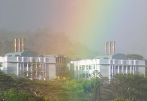 photo of a building and rainbow