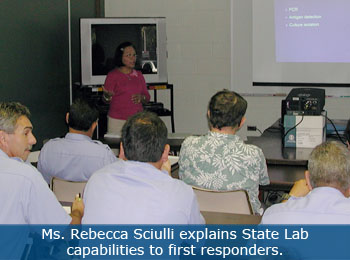 Rebecca Sciulli explains State Lab capabilities to first responders